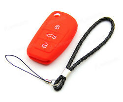 Red Silicone Case Cover For Audi Remote Flip Folding Key 3 Buttons 3BT A059RE