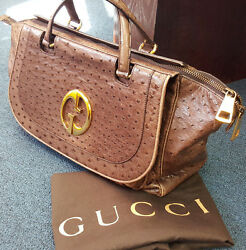 GUCCI 1973 Olive Genuine Ostrich Large Top Handle Tote Bag Rtl $7100