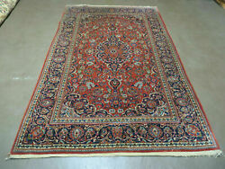 4' X 7' Vintage Fine Hand Made India Oriental Wool Rug Carpet Hand Knotted Red