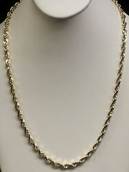 10k Solid Yellow Gold Rope Chain Necklace 28 6 Mm 60 Grams