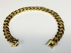 10k Solid Yellow Gold Handmade Miami Cuban Curb Link Bracelet 9.5 57grms 10.5mm