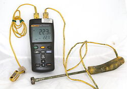 Fluke 52-ii Dual Input Digital Thermometer + Handheld And Magnetic Surface Probes