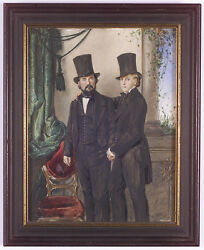 Albert Theer 1815-1902-attrib. Father With Teen-aged Son Large Miniature