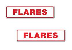 Flares Stickers 2 Pack Quality 7 Year Vinyl 2 Pack 200mm X 50mm Boat Safety