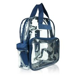 DALIX Clear Backpack School Pack See Through Bag in Navy Blue FREE SHIPPING $12.95
