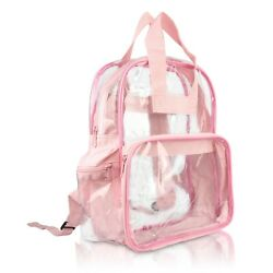DALIX Clear Backpack School Bag See Through in Light Pink Free Shipping $13.95