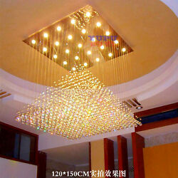 Modern Pyramid LED K9 Crystal Ceiling Light Villa Living Room Lobby hall Lamp