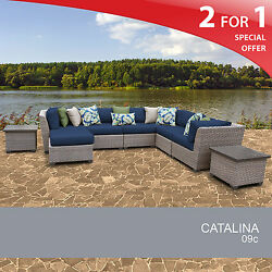 Catalina 9 Piece Outdoor Wicker Patio Furniture Set 09c 2 for 1
