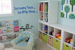 Childrens wall art: quot;So many toys so little timequot; Bedroom Childs Kids Sticker