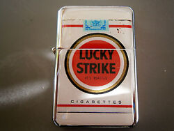 Lucky Strike Vintage Look Pack Star Cigarette Lighter And Extra Zippo Flints