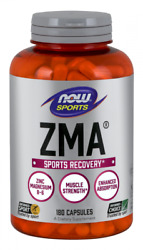 Now Sports Zma 180 Capsules Sports Recovery Zinc Magnesium Vitamin B-6 08/23exp