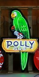 Neon Sign Polly 53 In Steel Can Gas Parrot Gasoline Oil Wall Lamp Pump Globe
