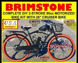 Ultra 2-stroke 66cc/80cc Complete Diy Motorized Bicycle Kit With 26 Bike