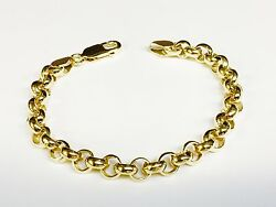 18k Solid Yellow Gold Handmade Rolo Link Chain/bracelet 8.5 24 Grams 7 Mm