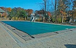 18'x36' Inground Rectangle Swimming Pool Winter Safety Cover Green Mesh 12 Year
