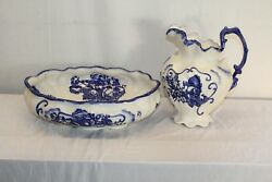 Gorgeous Staffordshire English Ironstone Hand Painted Porcelain Bowl And Pitcher