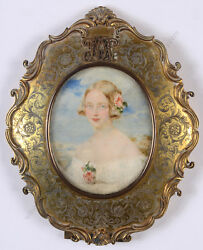 Sir William Charles Ross Lady With Rose In Her Hair High Quality Miniature
