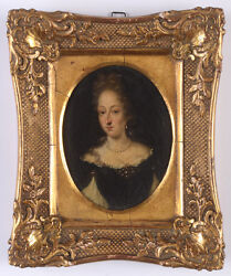 Portrait Of A Noblewoman, French Oil On Copper Miniature, Ca. 1700
