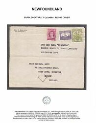 Newfoundland 126 148 153 Used On Columbia Flight Cover With Letter Cert.