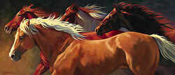 Flying By Nancy Davidson Quarter Horses Palomino Pinto Unstretched Canvas 35x15
