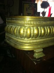 Vtg 1800and039s Ornate 4ft Fireplace Fender Surround Footed Egg Dart Brass