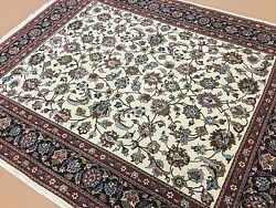 6and039.8 X 8and039.0 Beige Navy Fine Traditional Oriental Rug Hand Knotted Office/study