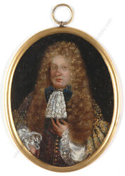 Nobleman With Allonge Wig Flemish Oil Miniature On Copper Ca. 1700