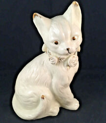 Porcelain ceramic cat statue figurine marked formalities by baum bros ivory gold