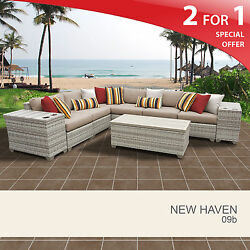 New Haven 9 Piece Outdoor Wicker Patio Furniture Set 09b 2 for 1