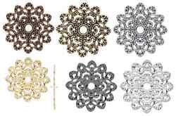 8497fx Charm Filigree Stamping Link Centerpiece Flat Flower Jewelry, 47mm 6 Qty