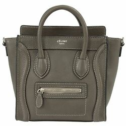 Céline Nano Luggage Pebbled Leather Tote Bag  Grey w Silver Hardware