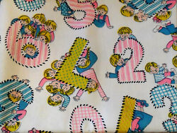 Vintage 60#x27;s 70#x27;s Cute Cotton Children Counting Numbers Letters FABRIC Toile $21.99