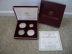1995 Four Coin Olympic Uncirculated Set With Stadium 5 Gold Baseball Silver