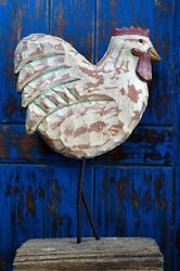 """Large Rooster Chicken Wood Sculpture Hand Carved Folk Art 13 ½"""" Tall"""