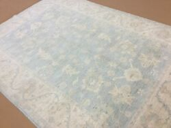 7'.0 X 9'.7 Soft Light Blue Oushak Oriental Area Rug Handknotted Wool All-over