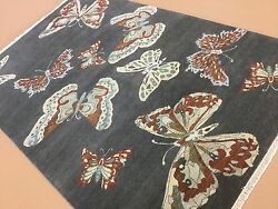 6and039 X 9and039 Gray Beige Butterfly Modern Oriental Rug Hand Knotted Wool Office/study