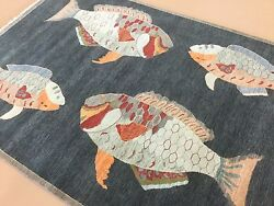 6and039 X 9and039 Black Red Modern Fish Oriental Area Rug Hand Knotted Wool Office/study
