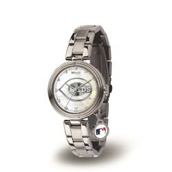 Cincinnati Mlb Reds Charm Watch With Stainless Steel Band