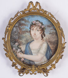 Portrait Of A Reverent Daughter French Miniature Ca. 1800
