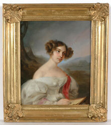 Leopold Fertbauer 1802-1875-attrib. Portrait Of A Young Lady, Oil On Tin
