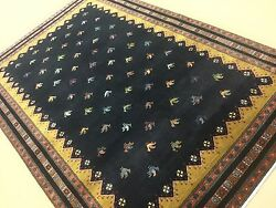 6' X 9' Blue Yellow Modern Rooster Oriental Rug Hand Knotted Wool Foyer