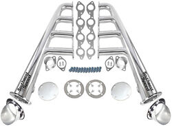 New Lake Style Chrome Plated Headers W/ Ceramic Turnouts,bbc 366-502 V-8,hot Rod