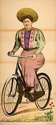 Original Antique Wissembourg Poster - Woman On Bicycle C1880