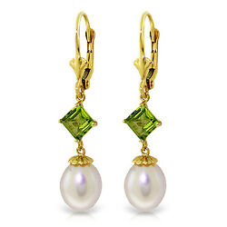 9.5 Ctw 14k Solid Gold Spring Fever Peridot Pearl Earrings
