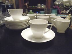 Set Of 8 Cups And Saucers Art Deco Minton Demitasse White China Unused Condition