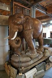 Antique Intricately Carved Teak Elephant From Thailand 2 Available 6and039 Tall
