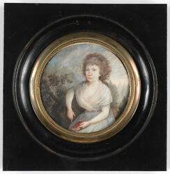 Portrait Of A Lady In Park, High Quality German Neoclassical Miniature