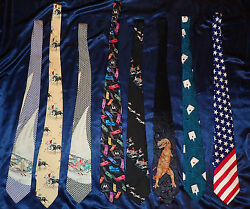 Mens Neck Ties Collection Lot Of 8 Speciality Designer Ties