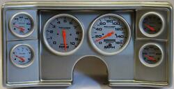 82-88 Chevy G Body Silver Dash Carrier W/ Auto Meter Ultra Lite Electric Gauges