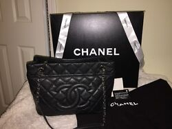 Auth CHANEL Black Quilted Caviar Leather Grand Shopping Tote Bag